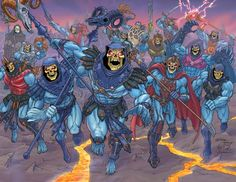 I actually own this full sized poster image of all the Skeletors; got it on a Free Comic Book Day a few years ago. Movie Skeletor in the back left, my fav. <3