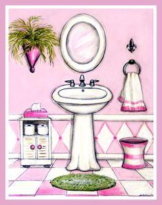 Pink White Bath, girls bath decor, feminine, kids bath, teen bath decor, 8x10 print by HamiltonArtandDesign