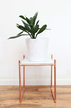 DIY Copper Pipe Marble Plant Stand