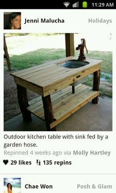 Outdoor sink fed by garden hose. This would be awesome for outdoor canning or even BBQing