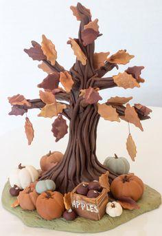Fall/Autumn inspired fondant tree cake topper by SeasonablyAdorned, $65.00