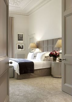 Bedhead # lamps # muted colours # pretty ceilings & cornices