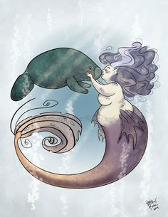 Sweet Manatee and Mermaid Kisses Original by DuckysShop on Etsy
