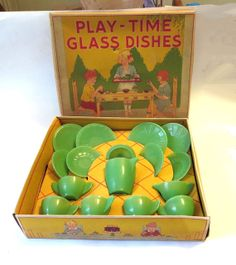 Vintage Akro Agate Jade Jadite Glass Playtime Child's Tea Set MIB 16pcs~~