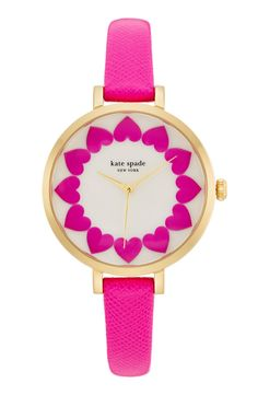 Crushing on this pretty pink heart dial Kate Spade watch.