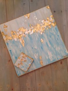 """Blue, white, gold abstract art by Jenn Meador the """"Brooke"""" 24""""x24"""" and 6""""x6"""" sample on canvas. Email to purchase jennmeadorpaint@gmail.com"""