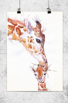 Giraffe with baby, wildlife, watercolor, wall decor, animal art, art print, nursery decor, mothers day gift, children art, Illustration by ValrArt on Etsy https://www.etsy.com/listing/199205057/giraffe-with-baby-wildlife-watercolor