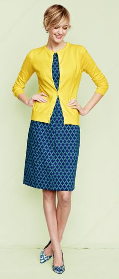 Bold outfit colors & prints | Yellow cardigan, printed dress, floral flats | Lands' End