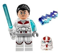 LEGO Jek-14 Star Wars minifigure - COMPLETE (White lightsaber, helmet, hair-piece, & lightning)