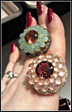 Two gorgeous gemstone cocktail rings from Brumani. .