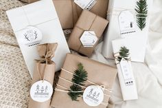Adorn your packages with these free printable Scandinavian gift tags by The Beauty Dojo.