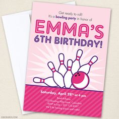 Bowling party invitations from Chickabug - pink and purple for girls' parties!