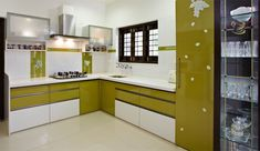 Green n White- Modern Kitchen for Indian homes