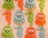 Fondant Cupcake Toppers - Octopus, Seahorse
