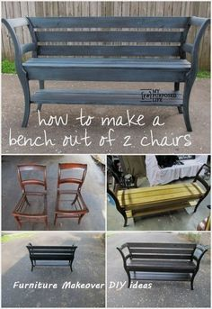Super Outdoor Furniture Diy Bench Old Chairs Ideas Diy Outdoor Furniture, Rustic Furniture, Furniture Ideas, Refurbished Furniture, Repurposed Furniture, Rocking Chair Covers, Cheap Furniture Makeover, Chair Makeover, Furniture Outlet