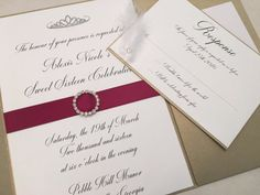 Gold and Red/Wine Wedding Invitation Set with by LuxePaperPost