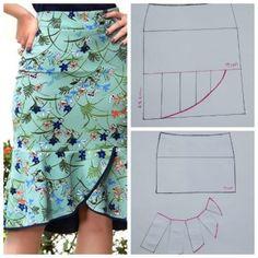 DIY MOLDE SAIA COM DETALHE Skirt Patterns Sewing, Clothing Patterns, Clothing Ideas, Sewing Clothes, Diy Clothes, Costura Fashion, Latest African Fashion Dresses, Fashion Sewing, Pattern Fashion