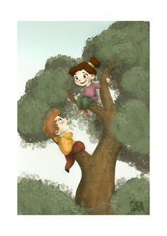 Climbing trees   Kids Illustration by S.K.Y. van der Wel