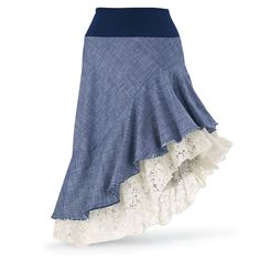 Gypsy styled to hike up the hems for saucy, bohemian flair! The knit, elasticized waist and flouncy lace underskirt add extra touches of twirl! Rayon/cotton/spandex. Plus size! Adorable with lace and denim. Pyramid Collection.