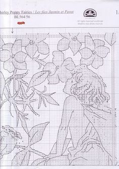 Cross stitch - fairies: Jasmine and shirley poppy fairy sampler - Cicely Mary Barker (chart - part A2)