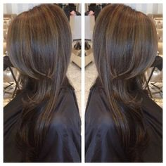 Chocolate brown hair color with dark caramel highlights gives a very, soft natural look.