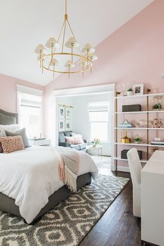 86 Pink And Grey Bedroom Interior Design Ideas 20 Cute Bedroom Ideas, Cute Room Decor, Girl Bedroom Designs, Room Ideas Bedroom, Girls Pink Bedroom Ideas, Unique Teen Bedrooms, Adult Bedroom Ideas, Modern Teen Room, Young Adult Bedroom