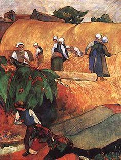 Haymaking - Paul Gauguin, 1889 (Courtauld Institute of Art, London, UK), Wikipaintings
