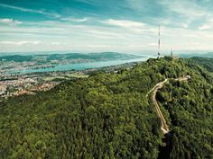 """Uetliberg is Zurich's very own """"mountain"""", from where you have beautiful views of the city and lake and even to the Alps. Hiking Routes, Hiking Trails, Grindelwald, Lake Zurich, Heart Of Europe, Where To Go, Day Trips, Airplane View, Places To See"""