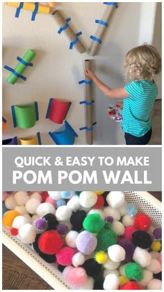 Easy to Make Pom Pom Wall for Toddlers & Preschoolers Love pom poms? This easy to make pom pom wall is a great way to learn colors, work on fine motor skills, and have fun building and creating! So much fun for preschoolers, toddlers, and older kids! Toddler Fine Motor Activities, Indoor Activities For Kids, Home Activities, Infant Activities, Quiet Time Activities, Sensory Activities Toddlers, Preschool Learning Activities, Outdoor Activities For Preschoolers, Summer Activities For Preschoolers