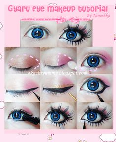 This guide shows how you can transform yourself into a cute gyaru. we are sharing with you some quick Gyaru makeup tutorials. Eyes being the noted part in Gyaru style; lots of attention is being paid to big eye circle lenses. Since Gyarus have deep Doll Eye Makeup, Lolita Makeup, Gyaru Makeup, Beauty Makeup, Anime Eye Makeup, Harajuku Makeup, Anime Cosplay Makeup, Asian Doll Makeup, Pastel Goth Makeup