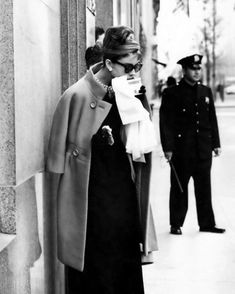Audrey Hepburn takes a sip of coffee before filming the iconic opening scene of Breakfast at Tiffany's (1961).
