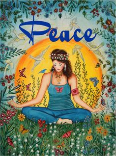 Peace love this picture.meditation and becoming a peaceful part of the universe. Paz Hippie, Mundo Hippie, Hippie Peace, Hippie Love, Hippie Style, Hippie Vibes, Hippie Chick, Pintura Hippie, Yoga Meditation