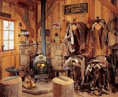 The harness room at a working ranch in Colorado