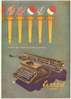 PUBBLICITA 1951 MACCHINA DA SCRIVERE EVEREST MOD ST FIACCOLE MONDO BIRAGHI