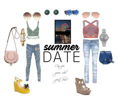 """Before the boys of Summer are gone!"" by brandi-hughes on Polyvore featuring SANDY, Rosie Assoulin, BCBGMAXAZRIA, Robin's Jean, rag & bone/JEAN, Tarina Tarantino, Ray-Ban, Gucci, Olivia Burton and Linda Farrow"