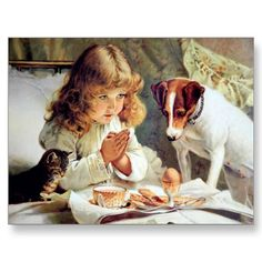 Breakfast in Bed: Girl, Terrier and Kitty Cat Post Cards