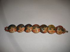 ButtonArtMuseum.com - Antique Vintage Paris Art Deco Silk Faces Buttons Made to A Bracelet