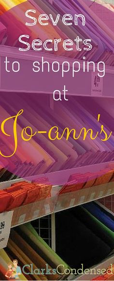 Seven Secrets to Shopping at Jo-Ann's I've been a long-time shopper at Jo-Ann's.and there are definitely some secrets to shopping there! Here's what I've learned about getting the most for my money there! Sewing Hacks, Sewing Crafts, Sewing Projects, Diy Crafts, Sewing Tips, Sewing Blogs, Sewing Basics, Sewing Stores, Diy Projects