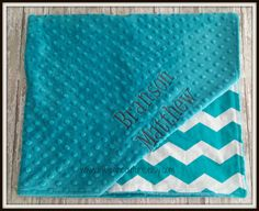 Teal Chevron Blanket  30x36  Free by LilyBeanCouture on Etsy, $40.00