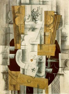 Georges Braque Fruit Dish and Glass 1912 series papier collé and charcoal on paper 56 x 76cms