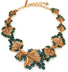 Oscar De La Renta Jeweled Leaf Necklace in Green (EMERALD) - Lyst