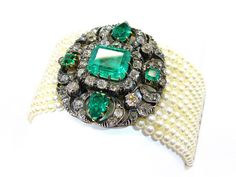 #Vintage antique #jewellery emeralds pearls and diamonds bracelet 1880 #jewelry www.finditforweddings.com