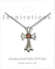 Decorative Cross With Gold Wrap Necklace