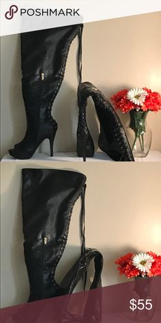 """Black thigh high shoe boots 🔥Fierce thigh high open toe 5"""" heel shoe boot. Size 8wide Shoes Over the Knee Boots"""