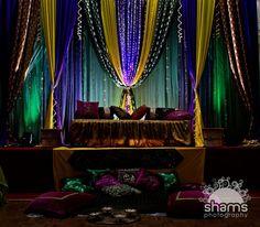 a bit more light could do. Arab Wedding, Wedding Mandap, Desi Wedding, Wedding Stage, Wedding Looks, Wedding Prep, Engagement Decorations, Wedding Venue Decorations, Bridal Shower Decorations