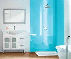 Who likes shower maintenance? Certainly no woman. These contemporary light blue high gloss shower wall panels (which look like back painted glass) make a shower a woman (who doesnt want to clean) will love. Get other tips in this article. Tile Walk In Shower, Bathroom Shower Panels, Bathroom Wall Decor, Bathroom Ideas, Bathroom Remodeling, Bathroom Showers, Handicap Bathroom, Tiny Bathrooms, Diy Shower