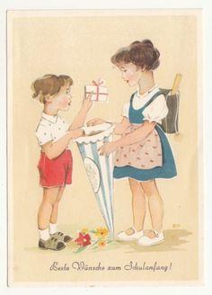 Schulanfang-Ak-Kinder-mit-grosser-Schultuete-Zuckertuete-EP-sig-um-1955-DDR-A515