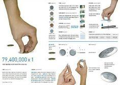 납작한 동전을 주을때 쉽게 주울 수 있도록 만들어진 동전디자인