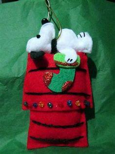 Handmade felt Snoopy Christmas ornament I made for my friend. Felt Christmas Decorations, Xmas Ornaments, Snoopy Christmas, Christmas Art, Snowflake Wreath, Felt Fabric, Handmade Felt, Felt Crafts, Holiday Fun