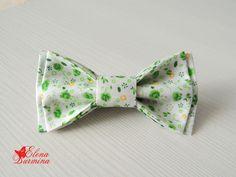 Купить Бабочка галстук белая в зеленый цветочек, хлопок - белый, цветочный, зеленый, желтый, бабочка
